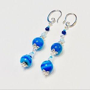 Deep Turquoise Striped Onyx & Crystal Earrings
